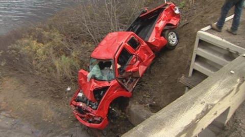 Camionnette accidentée
