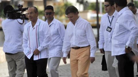 Les présidents mexicain et colombien, Felipe Calderon et Juan Manuel Santos.