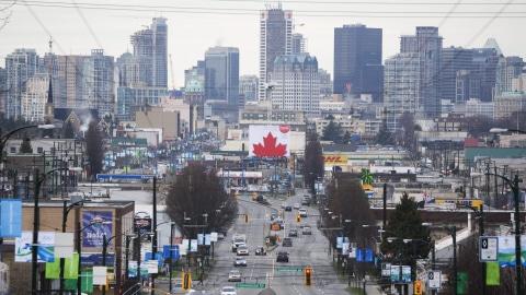 Vue éloignée du centre-ville de Vancouver.