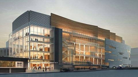 Image de synthèse de la façade est de l'Adresse symphonique