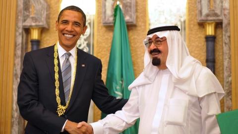 Le président des États-Unis Barack Obama et le roi Abdallah d'Arabie saoudite, le 3 juin 2009