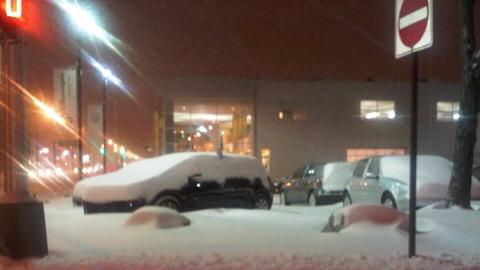 Première tempête de neige à Montréal
