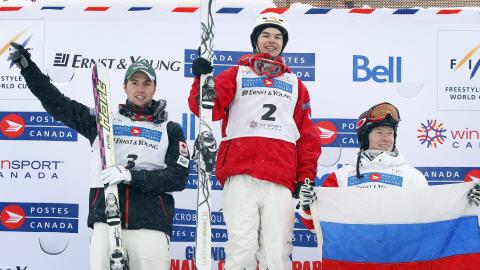 Alexandre Bilodeau, Mikaël Kingsbury et Alexandr Smyshlyaev