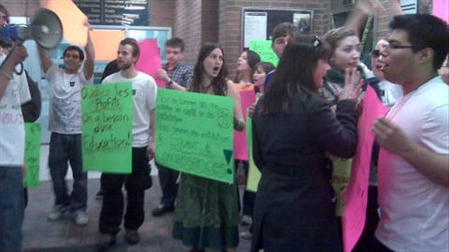 Manifestation des étudiants de l'Université Laurentienne