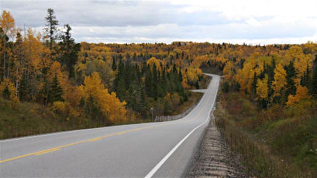 Route du nord de l'Ontario en automne