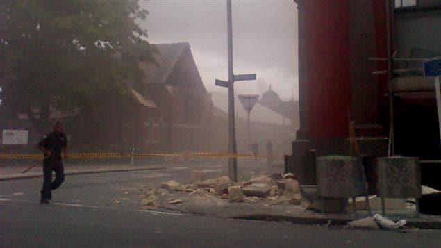 AP/Samual Sutherland Des immeubles ont été endommagés dans le centre de Christchurch.