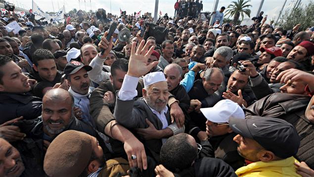 Rachid Ghannouchi a été accueilli par de nombreux partisans lors de son retour d'exil, le 30 janvier.
