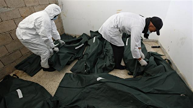 La morgue de l'hôpital de Benghazi s'est rempli de corps lors de l'insurrection de la mi-février.