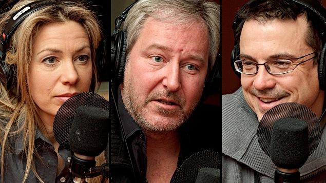 ©Radio-Canada/Christian Côté | <b>Céline Bonnier, Sylvain Archambault et Claude Legault</b>