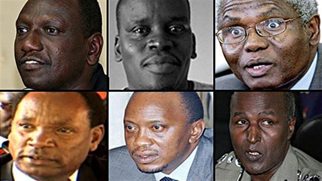 Première rangée, de gauche à droite : William Ruto, Joshua Arap Sang et Francis Muthaura. Deuxième rangée : Henry Kosgey, Uhuru Kenyatta et Hussein Ali.