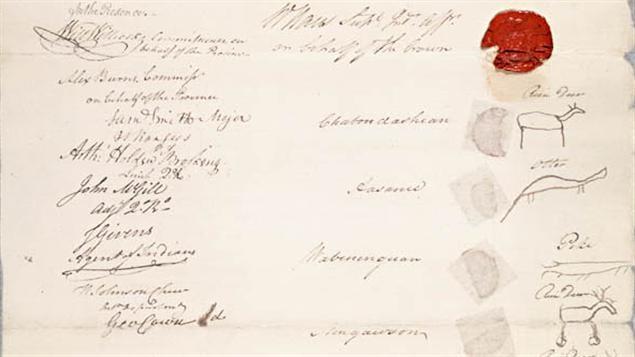 Les signatures apposées au bas d'un des traités du Haut-Canada