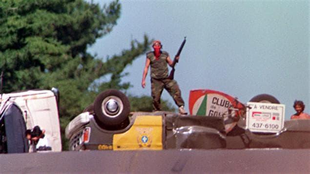La barricade érigée près d'Oka en 1990