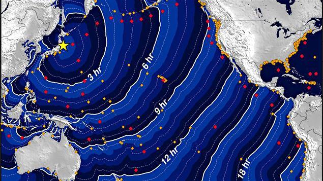 Avance du tsunami dans le Pacifique