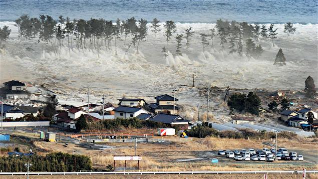 Une vague gigantesque déferle sur une zone résidentielle de la ville de Miyagi.