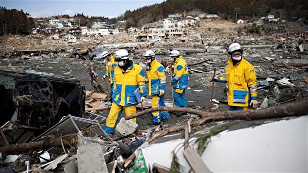 Des policiers inspectent des carcasses de voitures à la recherche de victimes, dans la préfecture de Miyagi (18 mars 2011).