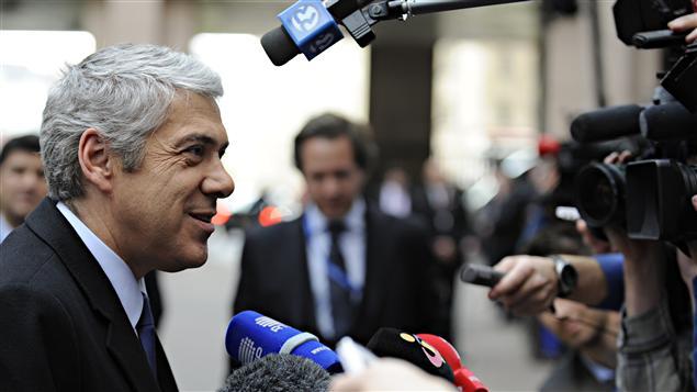 Le premier ministre démissionnaire José Socrates à son arrivée à Bruxelles