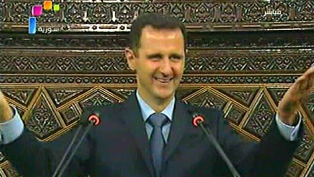 Le président syrien Bachar Al-Assad, lors de son discours au Parlement syrien.