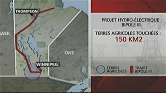 Le tracé de la future ligne de transmission d'électricité Bipole 3 au Manitoba.