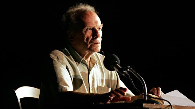 Jean-Louis Trintignant en répétition au festival d'Avignon en 2005