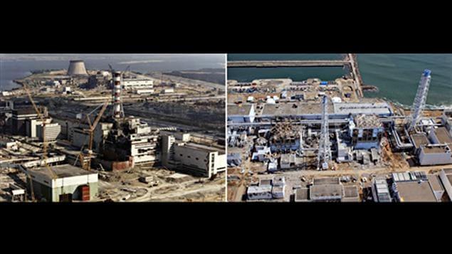 La centrale nucléaire de Tchernobyl, en Ukraine, après l'explosion de 1986 (à gauche) et celle de Fukushima, au Japon.