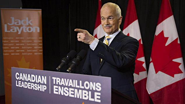 Le chef néo-démocrate Jack Layton, lors d'un point de presse à Toronto (3 mai 2011)