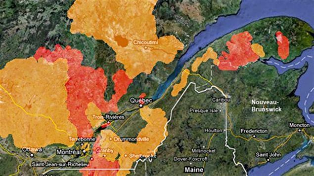 En rouge : les zones à risque d'inondation. En jaune: les zones à risque de fortes crues