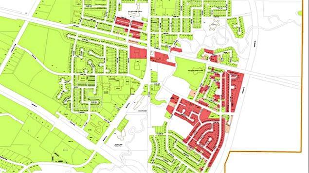 Une carte des maisons détruites ou endommagées à Slave Lake a été diffusée jeudi.