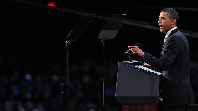 Obama s'adressant aux représentants du Comité États-Unis-Israël pour les Affaires Publiques