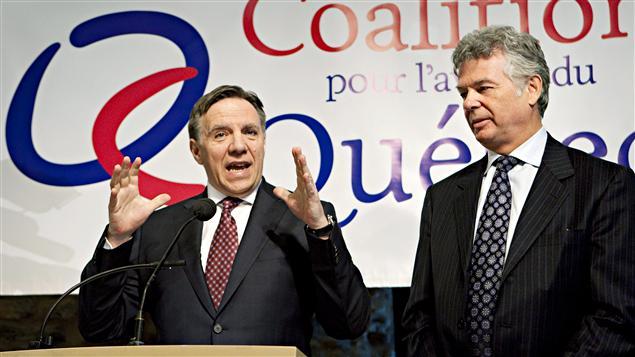 Les cofondateurs de la Coalition pour l'avenir du Québec, François Legault et Charles Sirois, le 21 février 2011
