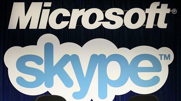 Les logos de Microsoft et de Skype