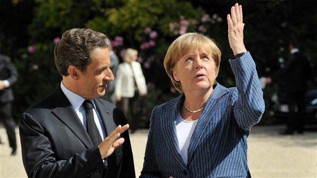 Le président français Nicolas Sarkozy et la chancelière allemande Angela Merkel