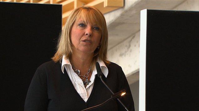 La ministre de la Culture et des Communications du Québec, Christine St-Pierre, en conférence de presse