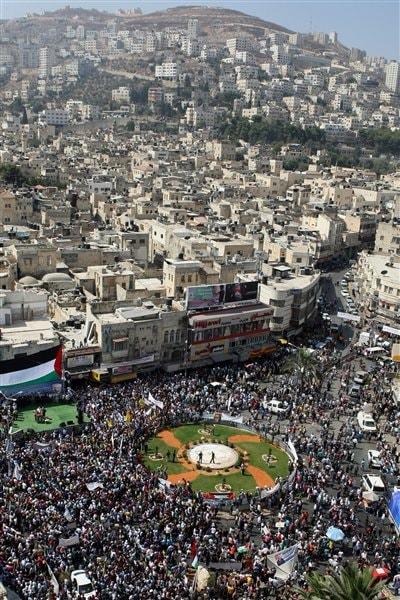 Manifestation d'appui à la démarche palestinienne à Naplouse.
