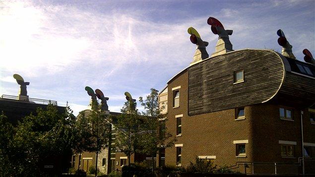 Les habitations de BedZed, avec leurs fameuses cheminées, qui servent à ventiler les maisons.