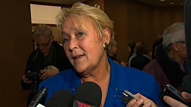La chef du Parti québécois, Pauline Marois, lors d'une assemblée à Saint-Jérôme