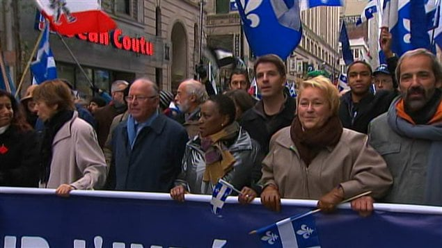 Pauline Marois, Bernard Landry et Françoise David prenaient part à la manifestation