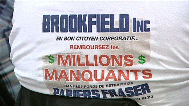 Les retraités de Papiers Fraser avaient un message clair à lancer à la compagnie Brookfield.