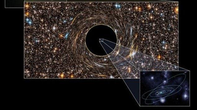 Photo transmise par la revue scientifique Nature le 5 décembre 2011 montrant un trou noir découvert dans la galaxie NGC 3842