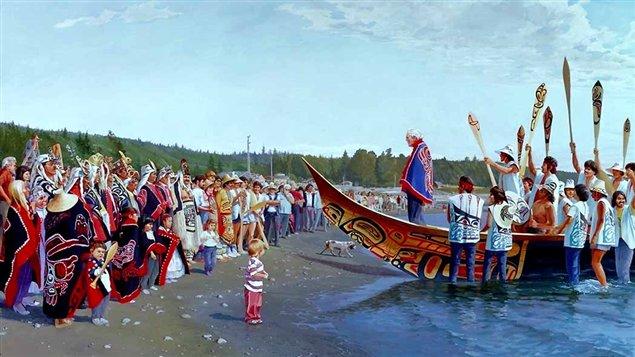 « Arrivée du Lootaas à Skidegate, le 11 juillet 1987 », d'après une huile originale par Gordon Miller, 1988