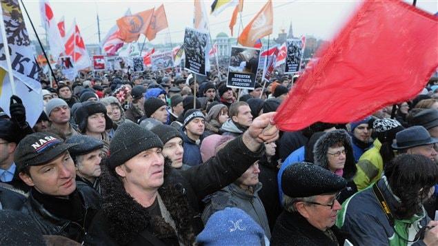 Les contestataires rassemblés sur la place Bolotnaïa, dans le centre de Moscou