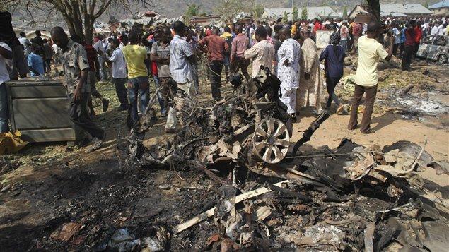 Décombres de l'attaque antichrétiens perpétrée le 25 décembre à Madalla, au Nigéria.
