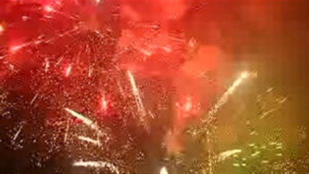 Feux d'artifices à Pékin pour le Nouvel an lunaire