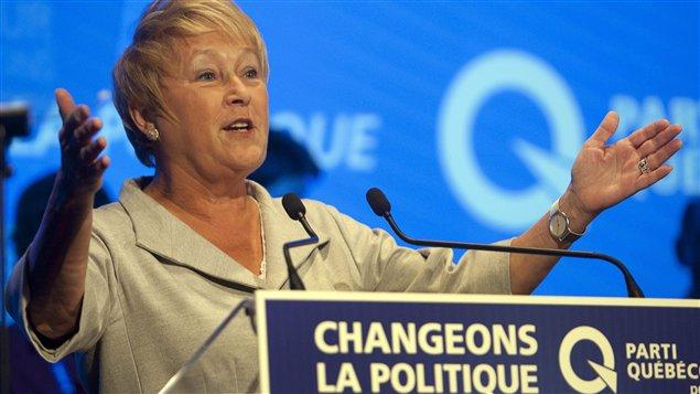 La chef du PQ, Pauline Marois, lors de son discours de clôture.
