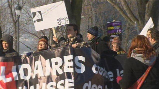 Des étudiants manifestent à Québec.