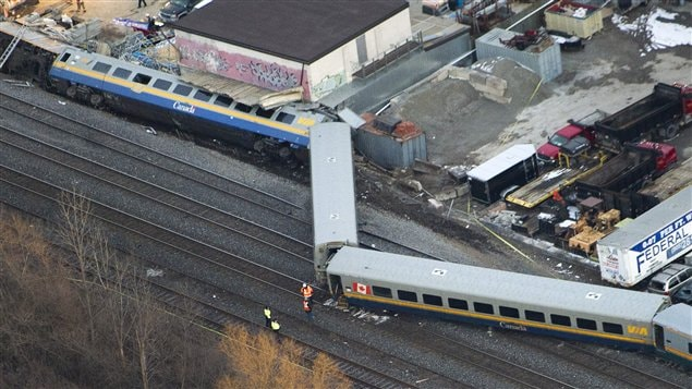 Déraillement d'un train à Burlington, Ontario