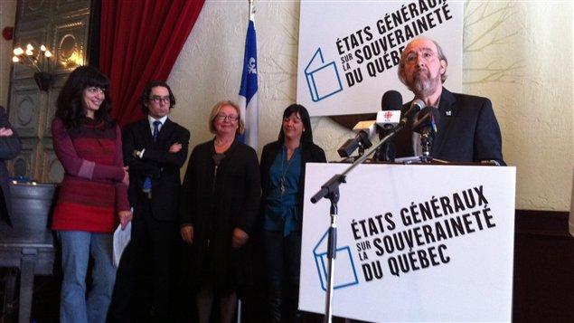 Le président du Conseil de la souveraineté du Québec, Gérald Larose, au lancement des États généraux sur la souveraineté du Québec (Montréal, 4 mars 2012)