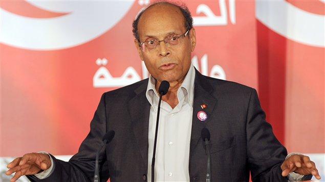 Le président tunisien Moncef Marzouki lors d'un discours à Tunis, en janvier 2012