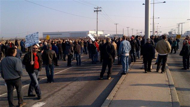 Manifestation des employés d'Aveos à Dorval