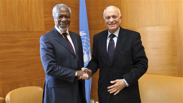 Kofi Annan et le secrétaire génral de la Ligue arabe Nabil al-Arabi