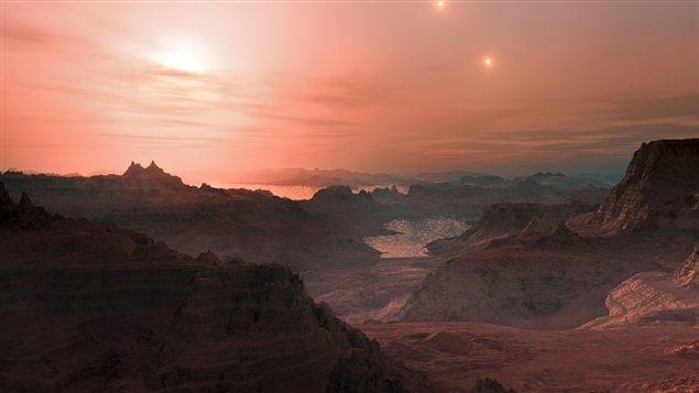 Vue d'artiste d'un coucher de Soleil depuis la super-Terre Gliese 667Cc